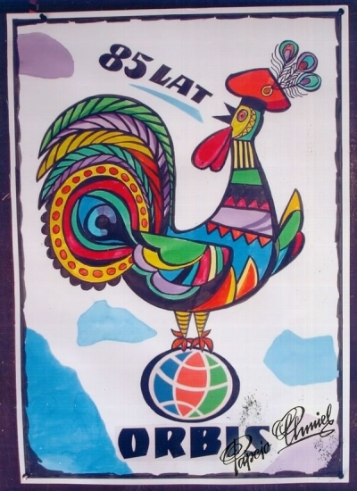 """Rok 2005. Konkurs na plakat """"ORBIS. ŚWIAT SIĘ ZMIENIA"""". Wyróżnienie specjalne za niekonwencjonalne podejście do tematu, nawiązującego do tradycyjnej stylistyki polskiego plakatu [...] Nagroda, to całodobowy pobyt w"""