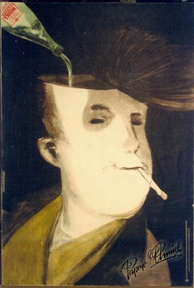 Rok 1961. Walka z alkoholizmem młodzieży. Wydział Zdrowia 50 x 70 cm, dwie wersje. Nagroda wewnętrzna WAG.