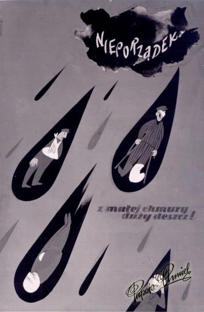 """Rok 1960. """"NIEPORZĄDEK"""". Seria plakatów BEZPIECZENSTWO i HIGIENA PRACY - BHP. 40 X 60 cm."""