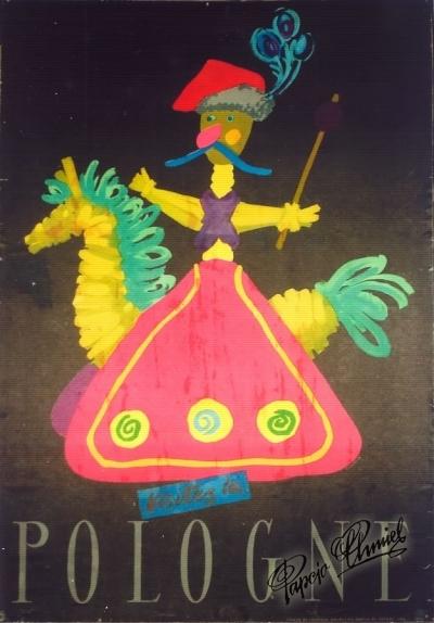 """Rok 1956. """"Lajkonik"""" - Odwiedzajcie Polskę - parę wersji językowych. 100 x 70 cm. Wydawnictwo Artystyczno Graficzne WAG - RSW PRASA - """"RUCH"""". Pierwsza nagroda w konkursie na plakat turystyczny """"ORBISU""""."""