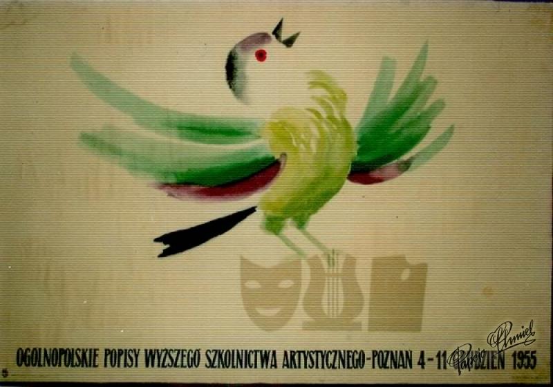 Rok 1955. POPISY WYŻSZEGO SZKOLNICTWA ARTYSTYCZNEGO - Pierwsza nagroda w konkursie Ministerstwa Kultury. WAG 100 x 70 cm.