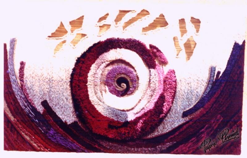 Rok 1980. RODZENIE SIĘ ZIEMI, 210 x 110. Projekt i tkanie: H.Ch. Własność prywatna Las Vegas.