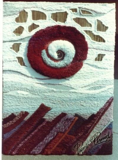 Rok 1971. METEOR, 100 x 140 cm, len, acrylic. Projekt i tkanie: H.Ch. Własność prywatna Los Angeles.